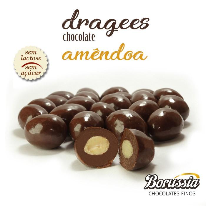 Confeito de Amêndoa sem Açúcar / sem Lactose Borússia Chocolates