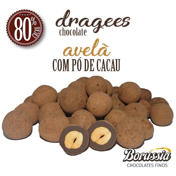 Confeito de Avelã Chocolate 80% com Pó de Cacau Borússia Chocolates