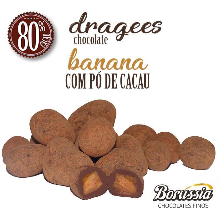 Confeito de Banana Chocolate 80% com Pó de Cacau Borússia Chocolates