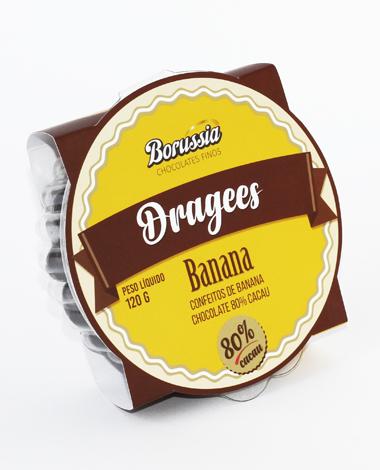 Confeito de Banana com Chocolate 80% Cacau 120g Borússia Chocolates