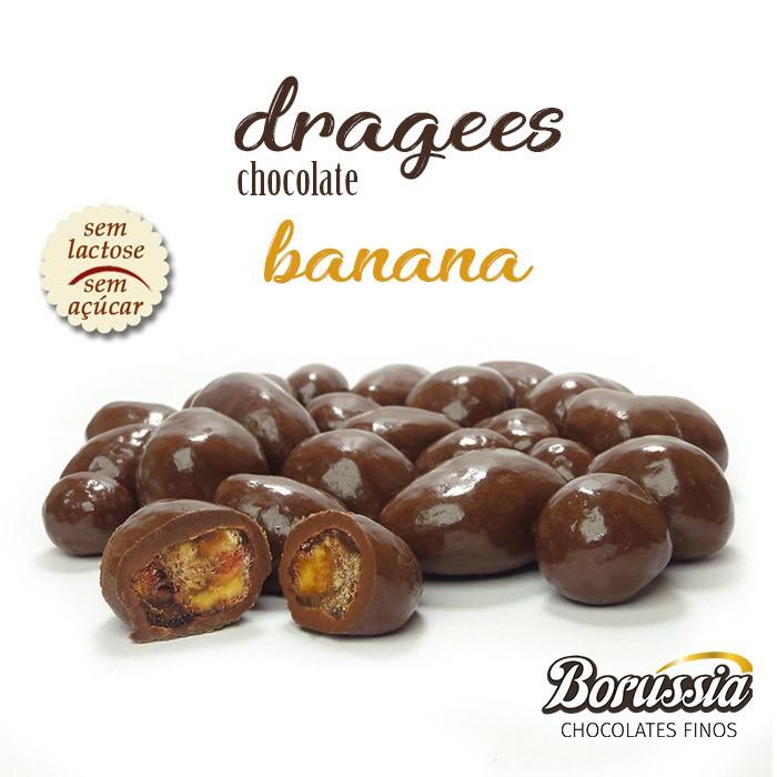 Confeito de Banana com Chocolate sem Açucar / sem Lactose Borússia Chocolates