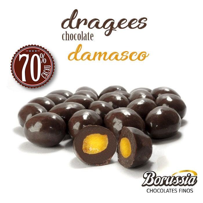 Confeito de Damasco com Chocolate 70% Cacau Borússia Chocolates