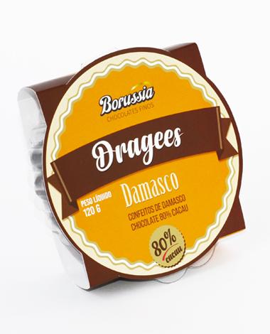 Confeito de Damasco com Chocolate 80% Cacau 120g Borússia Chocolates