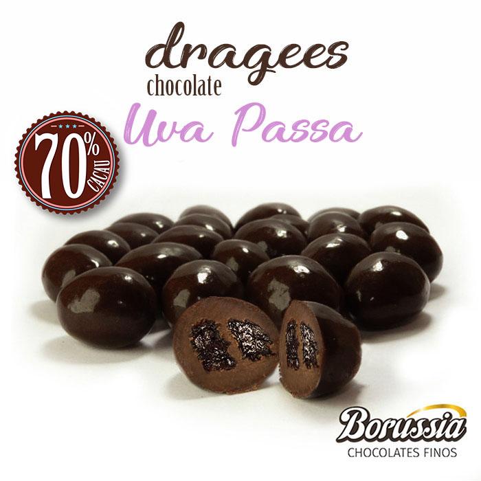 Confeito de Uva Passa com Chocolate 70% Cacau Borússia Chocolates