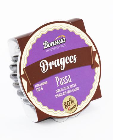 Confeito de Uva Passa com Chocolate 80% Cacau 120g Borússia Chocolates
