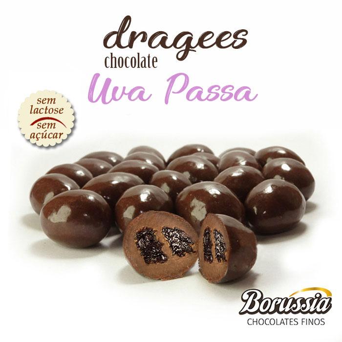 Confeito de Uva Passa com Chocolate sem Açucar / sem Lactose Borússia Chocolates