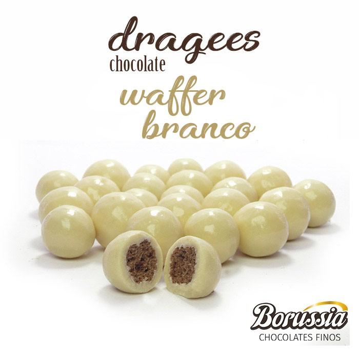 Confeito de Waffer Branco Borússia Chocolates