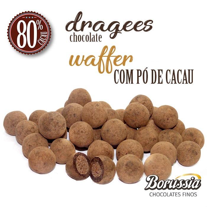 Confeito de Waffer Chocolate 80% com Pó de Cacau Borússia Chocolates