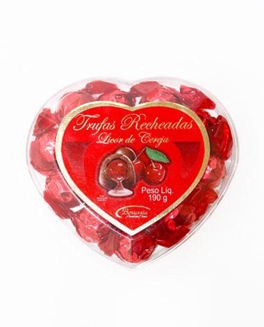 Coração Acrílico com Bombom Licor de Cereja Borússia Chocolates