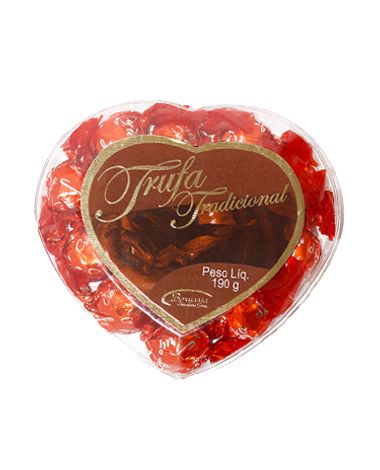Coração Acrílico com Bombom Tradicional 190g Borússia Chocolates
