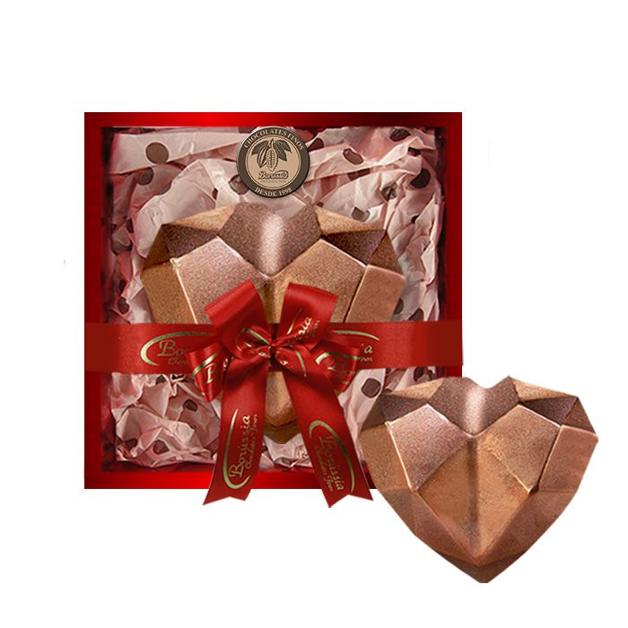 Coração de Diamante Bronze com Chocolate Belga e Creme de Avelâ 600g Borússia Chocolates