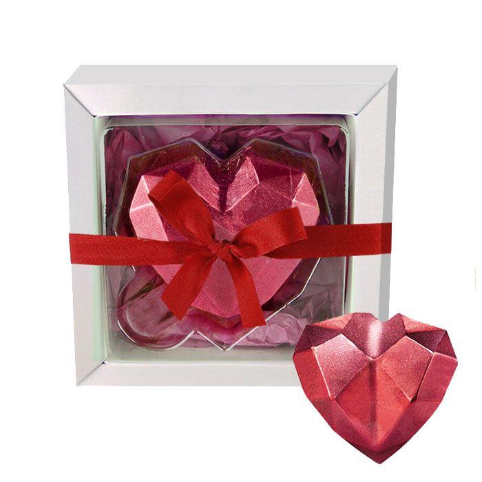 Coração de Diamante com Chocolate Belga Recheio de Brigadeiro com Cookies 60g Borússia Chocolates