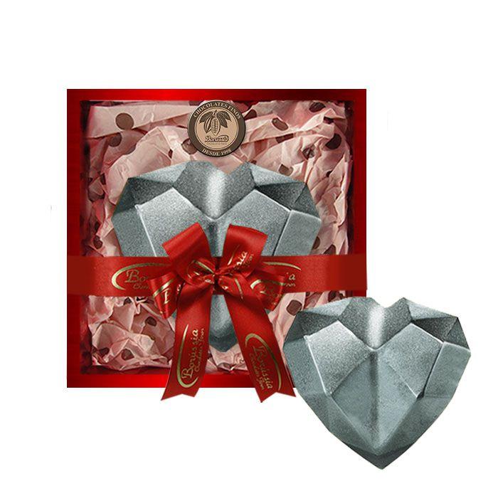 Coração de Diamante com Chocolate Belga Recheio de Marshmallow 500g Borússia Chocolates