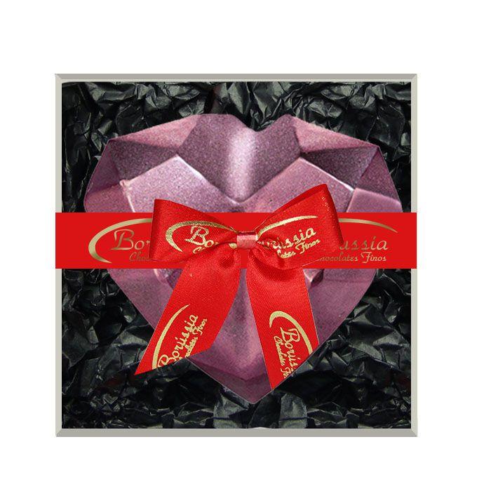 Coração de Diamante Rosê com Chocolate Belga e Creme de Avelâ 200g Borússia Chocolates