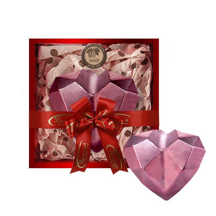 Coração de Diamante Rosê com Chocolate Belga e Creme de Avelâ 600g Borússia Chocolates