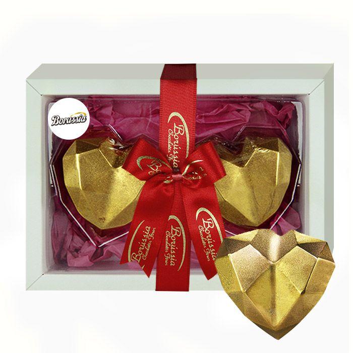 Coração Duplo de Diamante com Chocolate Belga e Creme de Avelâ 120g Borússia Chocolates