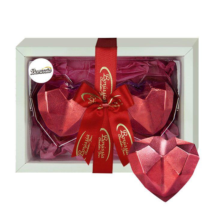 Coração Duplo de Diamante com Chocolate Belga Recheio de Brigadeiro com Cookies 120g Borússia Chocolates