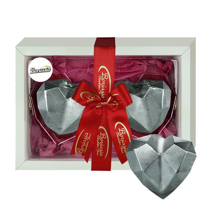 Coração Duplo de Diamante com Chocolate Belga Recheio de Marshmallow 120g Borússia Chocolates