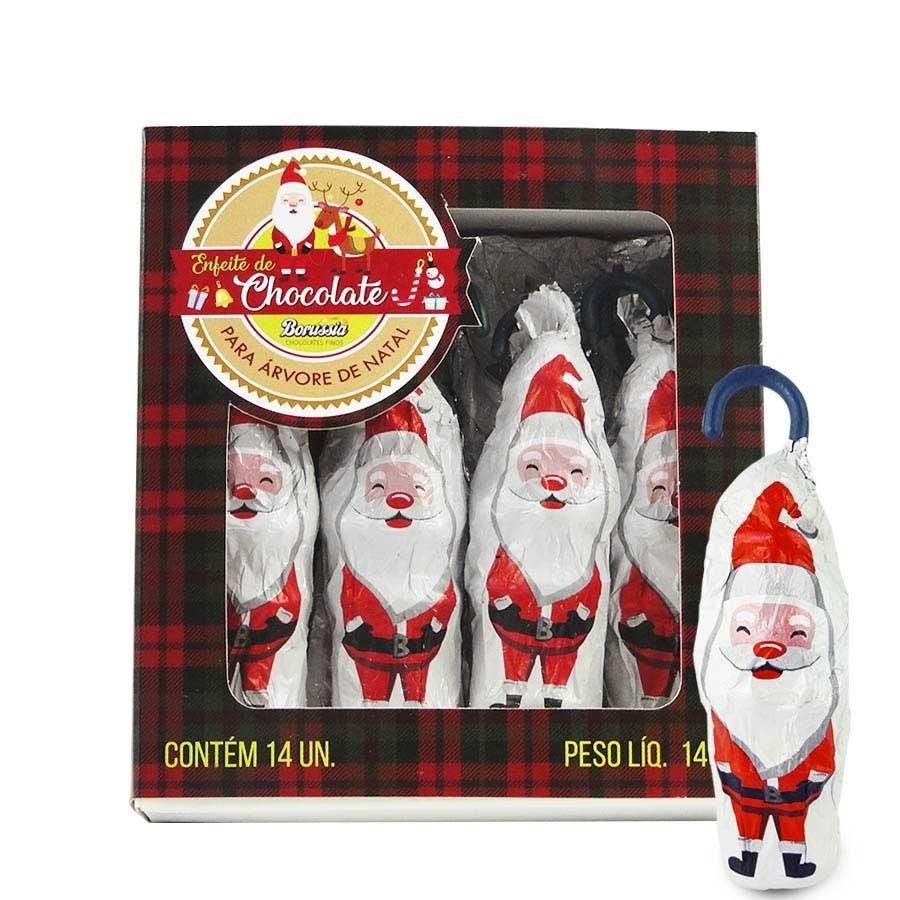Enfeite Papai Noel de Chocolate ao Leite com 14 unidades Borússia Chocolates