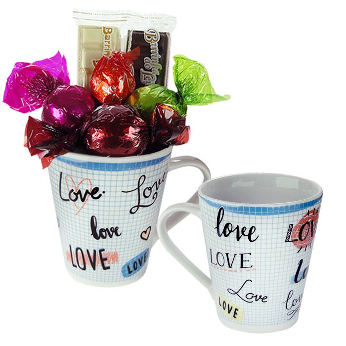 Kit Caneca com Chocolate Amor Xadrez Branco Borússia Chocolates