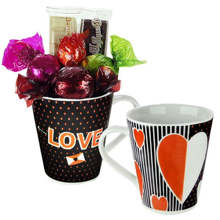 Kit Caneca com Chocolate Carta de Amor Borússia Chocolates