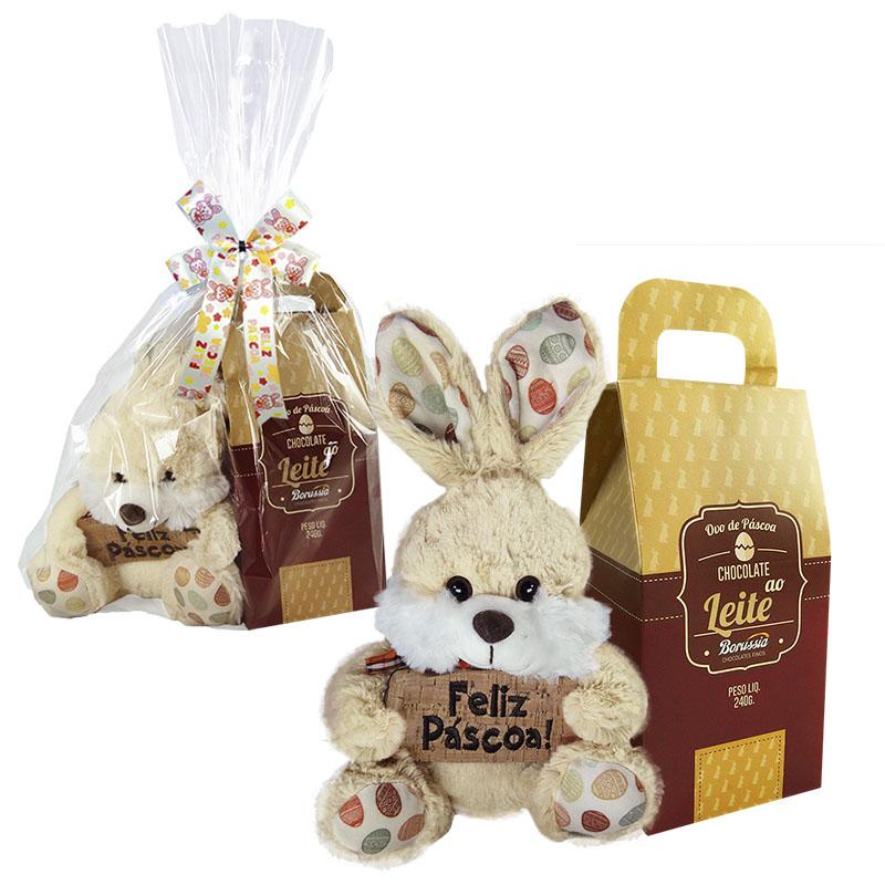 Kit Feliz Páscoa com Chocolate Ao Leite 240g Borússia Chocolates