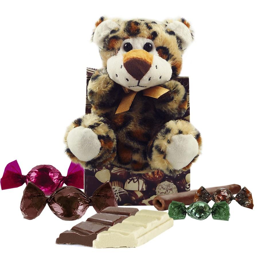 Kit Infantil de Chocolate com Oncinha de Pelúcia Borússia Chocolates