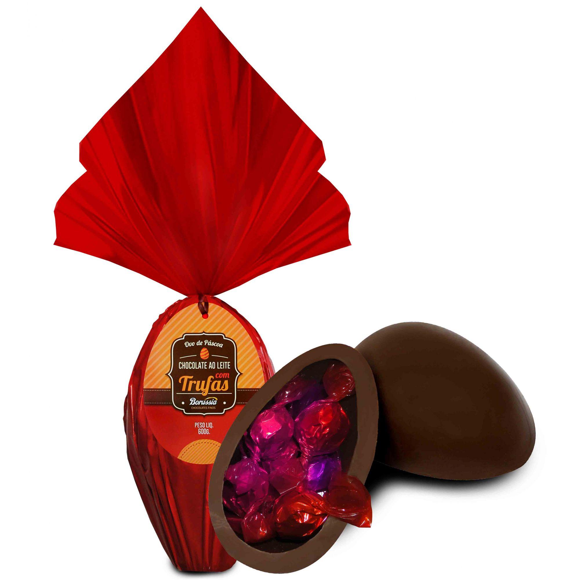 Kit Ovo de Páscoa Ao Leite com Trufas 600g Borússia Chocolates