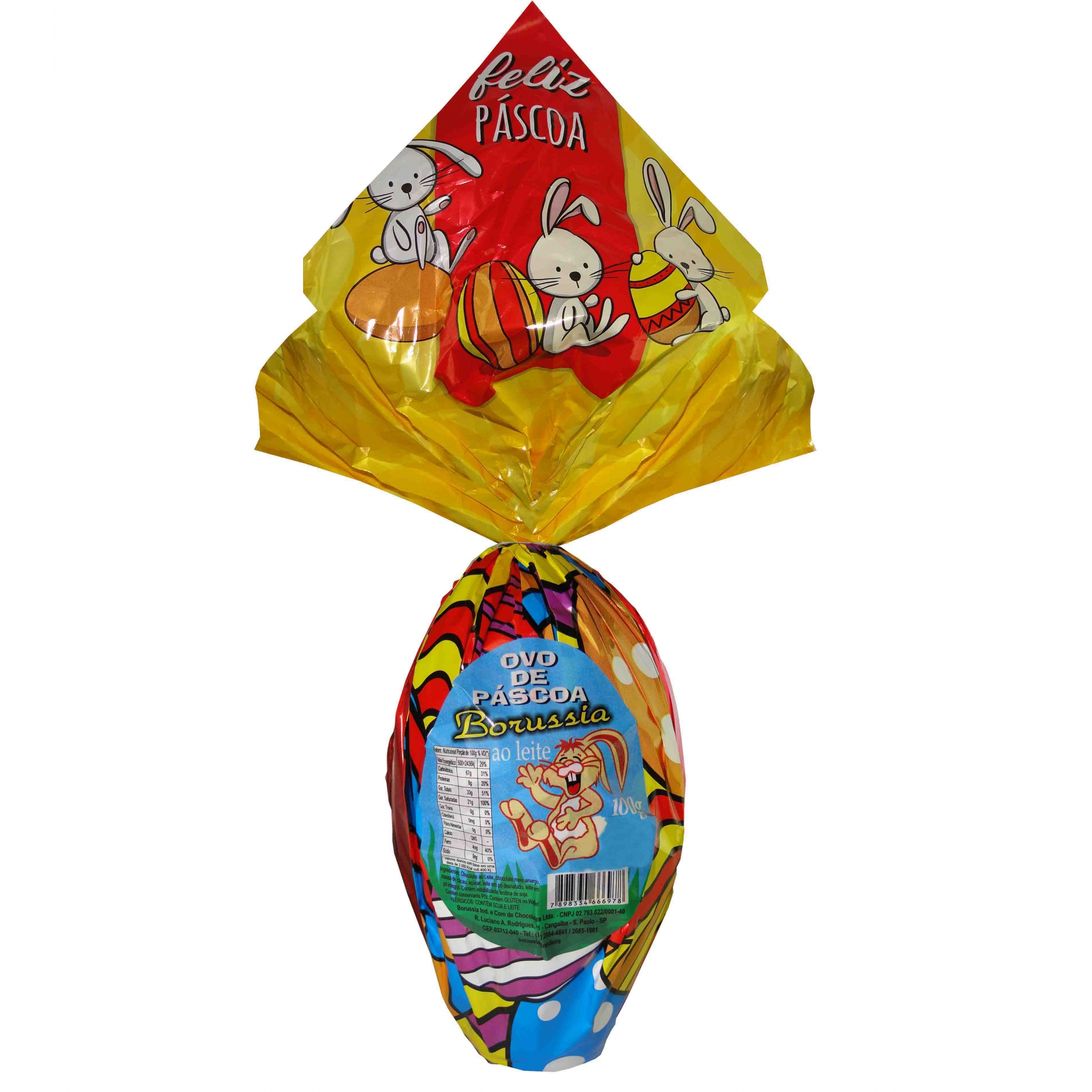 Ovo de Páscoa Chocolate ao Leite 100gr / Caixa c/ 12 Unds Borússia Chocolates