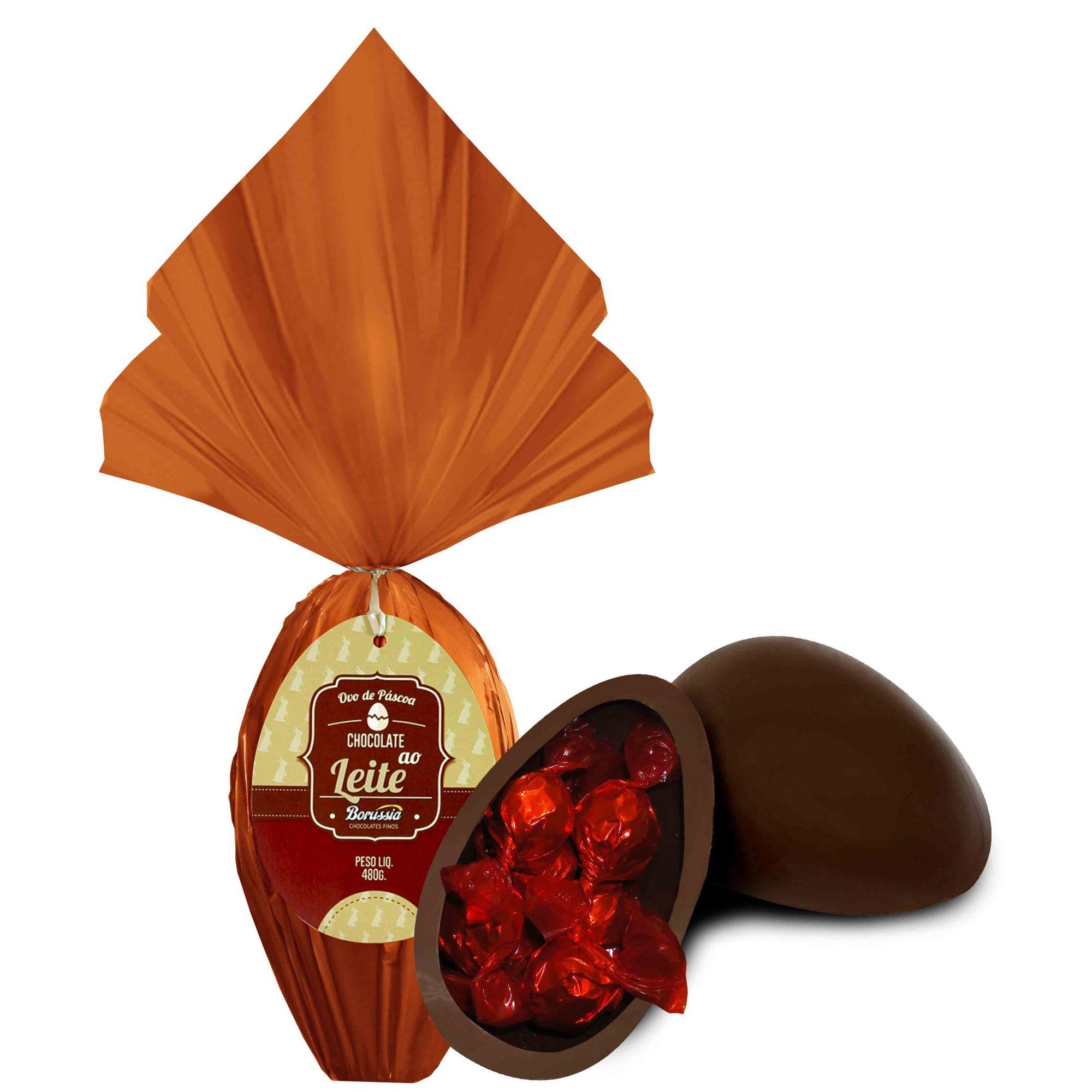 Ovo de Páscoa Chocolate ao Leite 480gr Unidade Borússia Chocolates