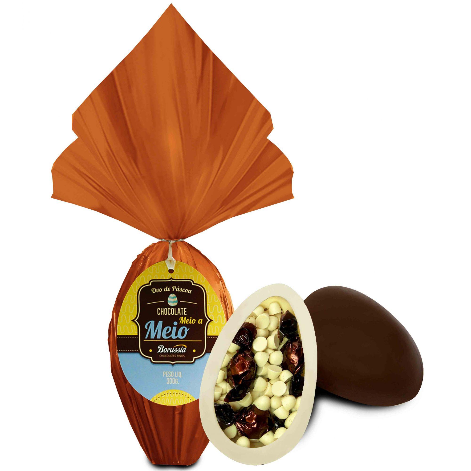 Ovo de Páscoa Chocolate Meio a Meio 300gr / Caixa c/ 8 Unds Borússia Chocolates