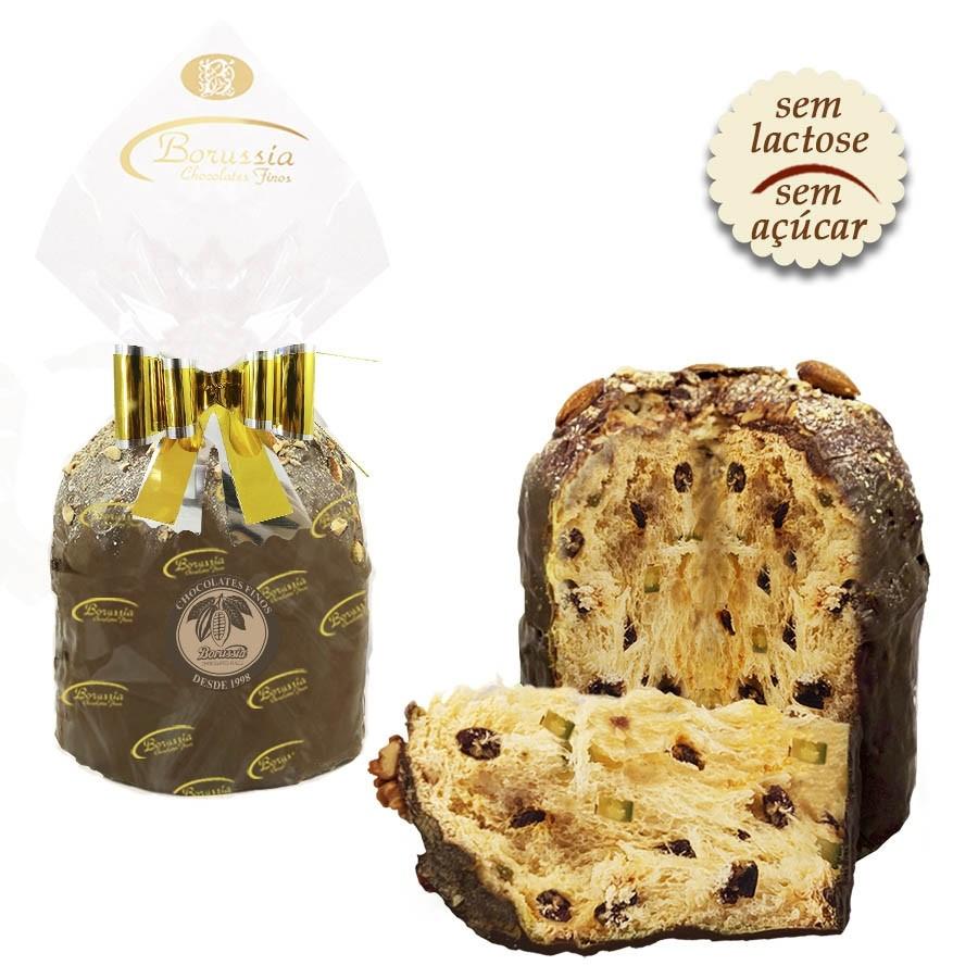 Panettone Light Coberto com Chocolate sem Açúcar e sem Lactose 520g Borússia Chocolates