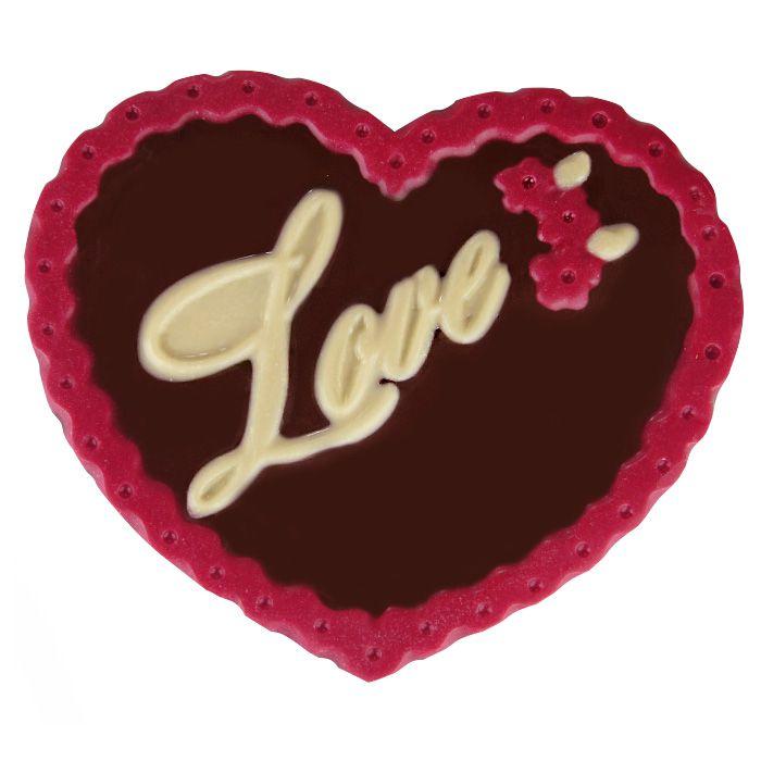 Placa de Coração Love com Chocolate Borússia