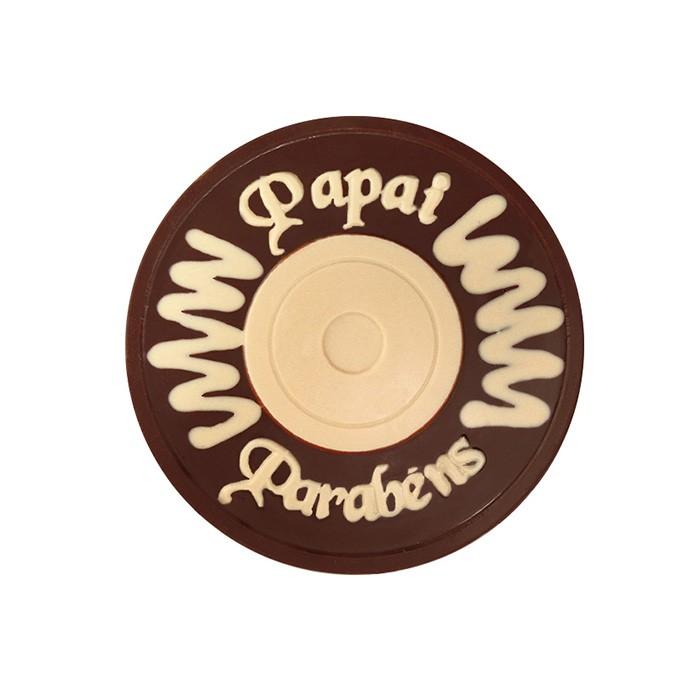 Placa Redonda Papai Parabéns Borússia Chocolates