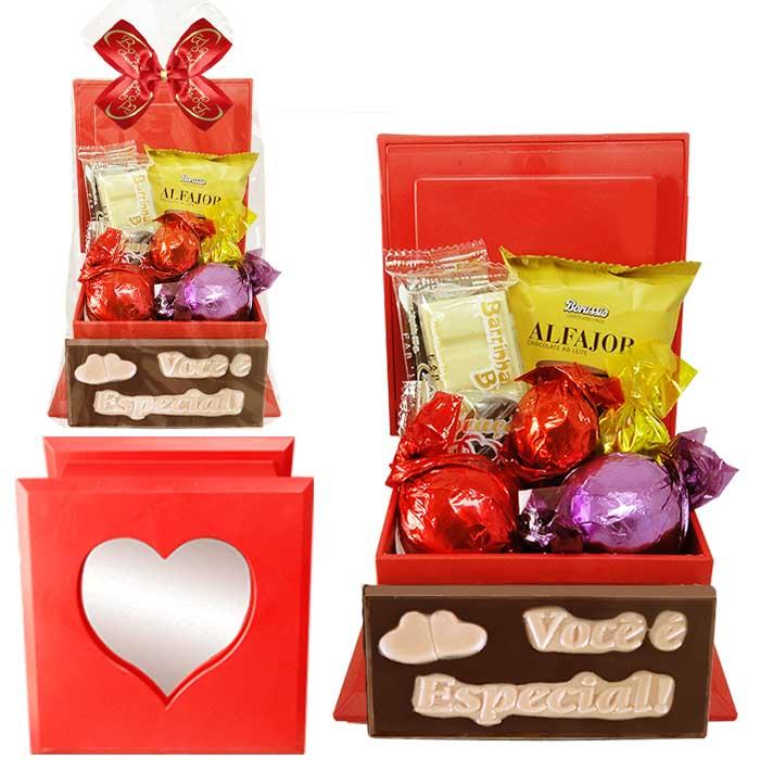 Porta Joia com Espelho e Chocolates Variados Borússia Chocolates
