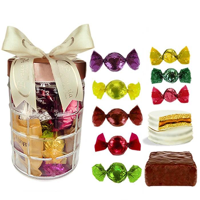 Pote de Vidro Grande com Chocolates Variados Borússia Chocolates
