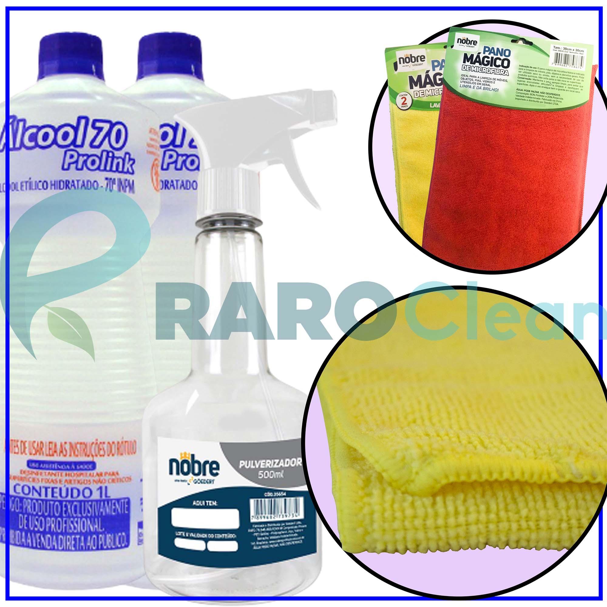 Álcool Líquido Litro + Borrifador + Pano Mágico Microfibra
