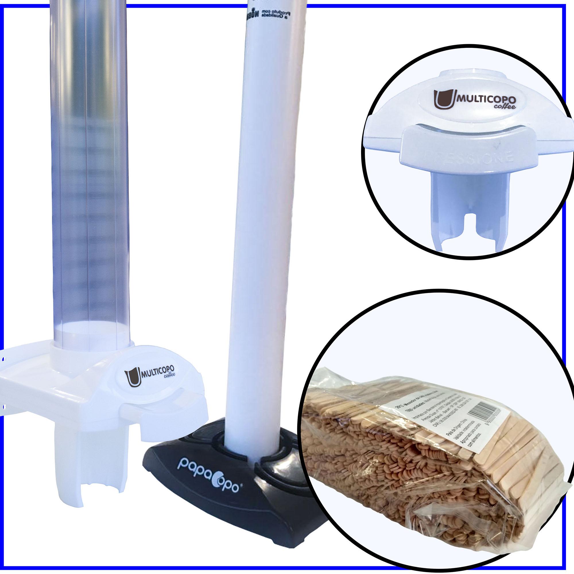 Dispenser Poupa Copos Café + Lixeira Dispensador + Mexedor