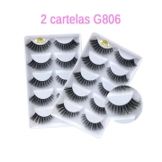 2 cartelas cílios postiços Modelos G806   Pop Make up