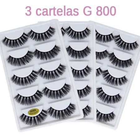 3 Cartelas Cílios Postiços G800 | Pop Make up