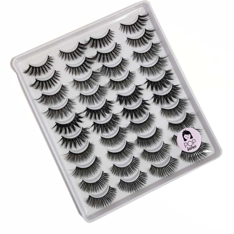 Caixa com 20 pares variados de cílios | Pop Lashes