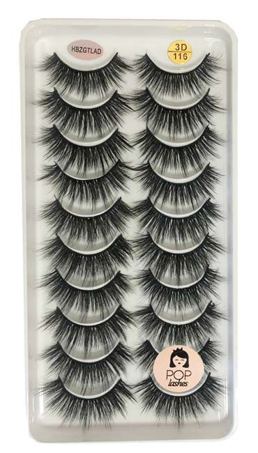Cartela com 10 pares de cílios 3D-116 | Pop Lashes