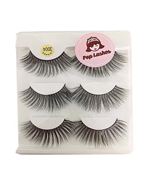 Cartela de cílios com 3 pares 3D04 | Pop Lashes