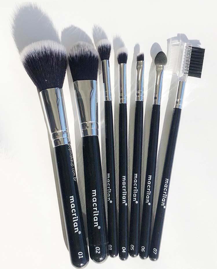 Kit com 7 pincéis e estojo para maquiagem KP9-3 | Macrilan