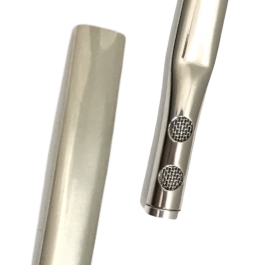 Bomba Inox de Tereré - Tela interna - 2 Furos - Lisa sem rosca - 19 cm