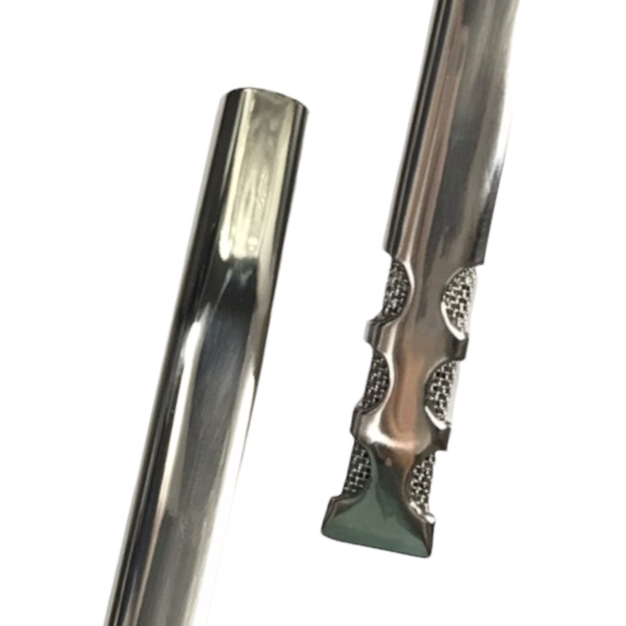 Bomba Inox de Tereré - Tela interna 6 Furos - Lisa - 19cm