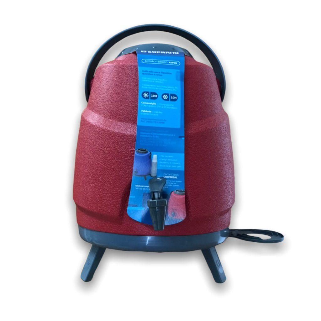 Garrafa Termica Botijao Estacionario Aspen 9L Vermelho