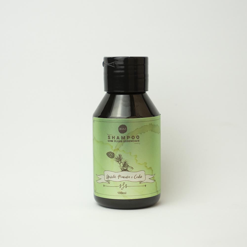 Óleos Essenciais - Shampoo de Hortelã Pimenta e Cedro - Boaz Hair - 100ml