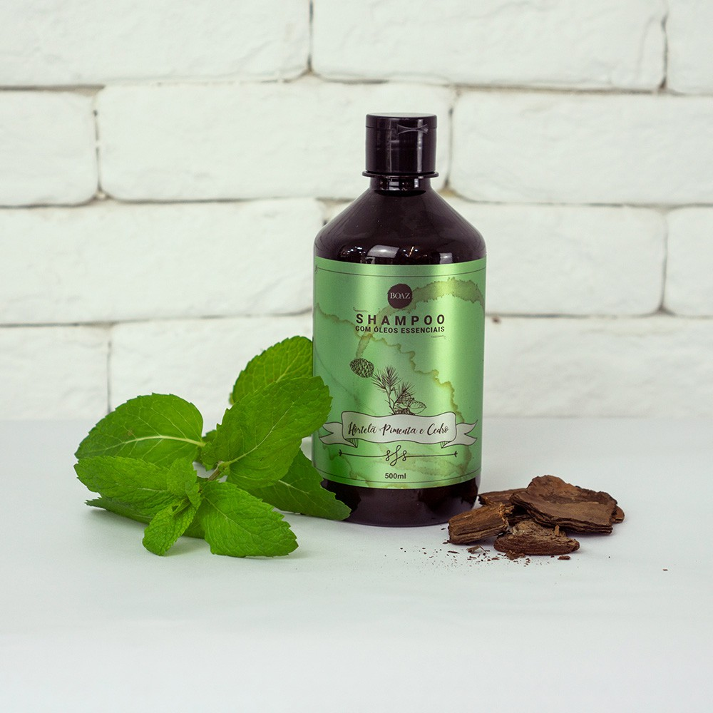 Óleos Essenciais - Shampoo de Hortelã Pimenta e Cedro - Boaz Hair - 500ml