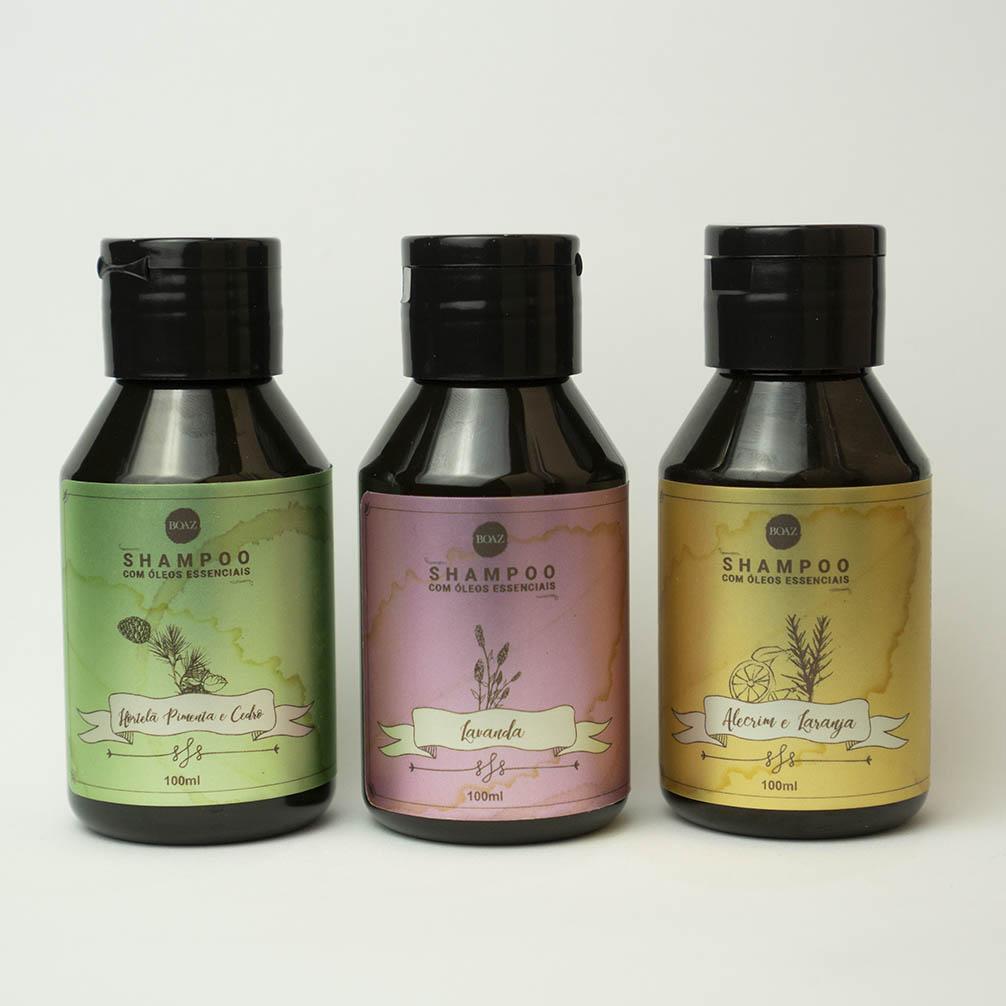 Shampoos de Óleos Essenciais - Kit Completo - Boaz Hair - 100ml
